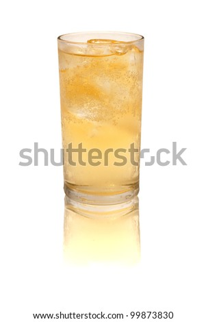 whiskey glasses. Isolated on white with reflection - stock photo
