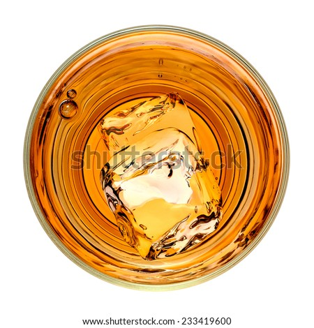 Whiskey in glass from top on white background  including clipping path - stock photo