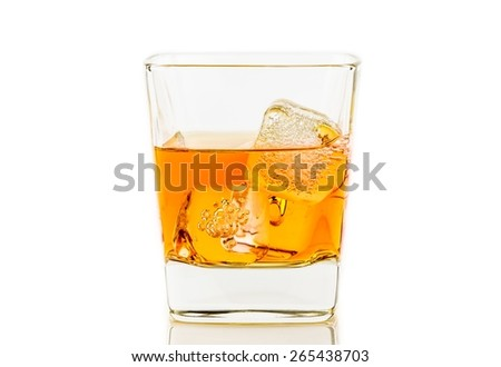 whiskey in glass with ice on white background, whisky relax time