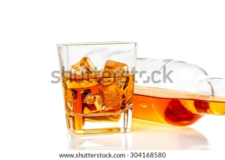 whiskey near bottle on white background with reflection, time of relax with whisky