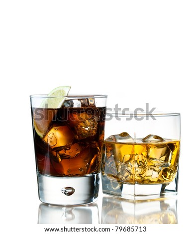 whiskey of the rocks and cola