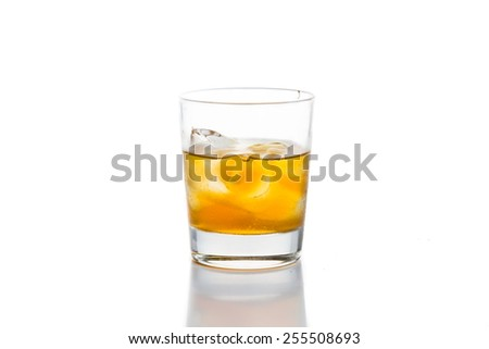 Whiskey on the rocks, isolated in white