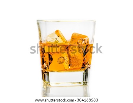 whiskey on white background isolated, time of relax with whisky