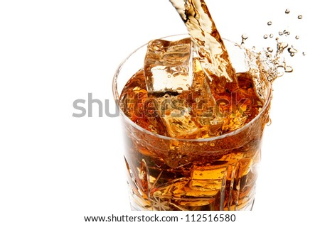 Whiskey pouring into glass full of ice