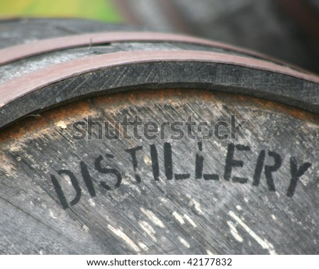 Whiskey, scotch or bourbon aging barrel - stock photo