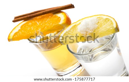 Whiskey, tequila with citrus and cinnamon