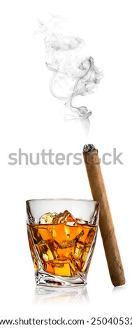 Whiskey with ice and cigar isolated on a white background - stock photo