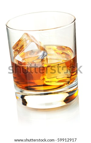Whiskey with ice cubes. Isolated on white - stock photo