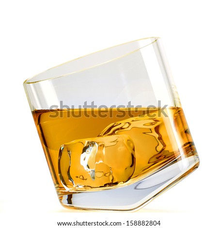 Whiskey with ice in inclined rocks glass clipping path included