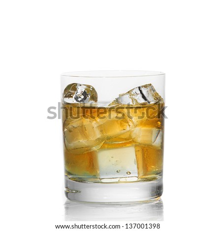 Whiskey with ice isolated on white