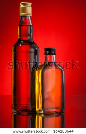 whisky bottles - stock photo