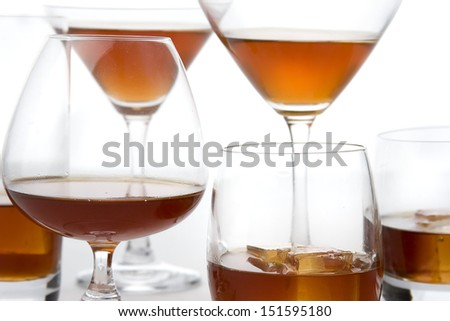 whisky cognac brandy glasses - stock photo