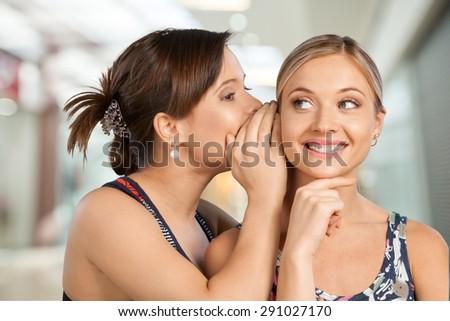 Whispering, Gossip, Mystery. - stock photo