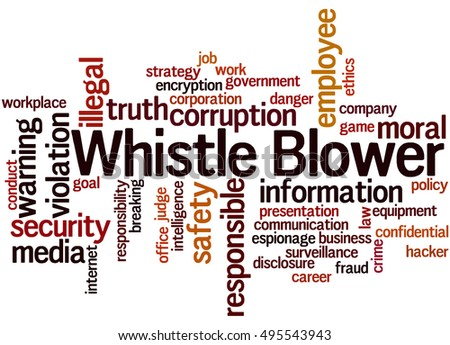 Whistle blower, word cloud concept on white background.