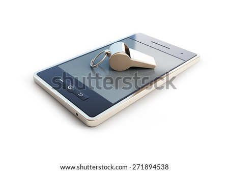 whistle for mobile phone on white background - stock photo