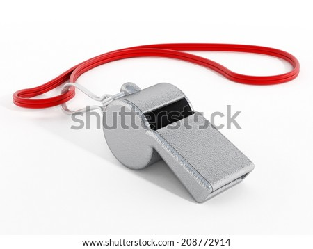 Whistle with red rope isolated on white - stock photo