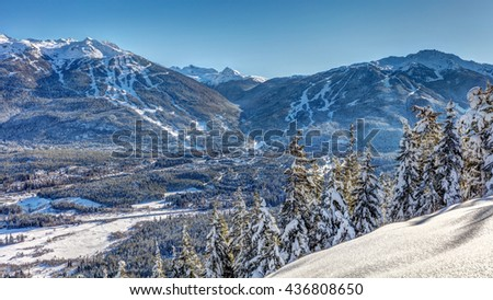 Whistler and Blackcomb mountains in winter - stock photo