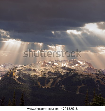 Whistler, Mount Whistler in stormy clouds, British Columbia, Canada