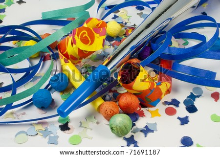 Whistles and Streamers and confetti to party on carnival - stock photo