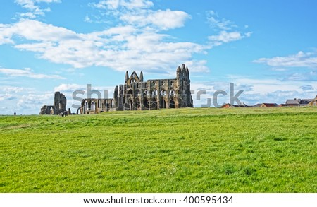 Whitby Abbey in North Yorkshire in England. It is ruins of the Benedictine abbey. Now it is under protection of the English Heritage. - stock photo