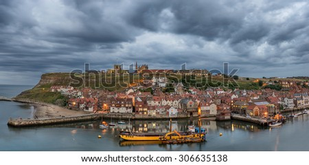 Whitby harbour in north Yorkshire - stock photo