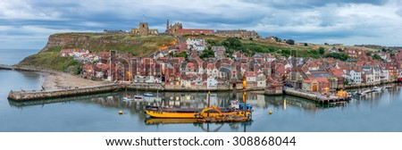Whitby harbour on the north east coast of Yorkshire in England - stock photo