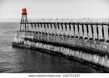 Whitby Pier in Whitby, North Yorkshire, UK