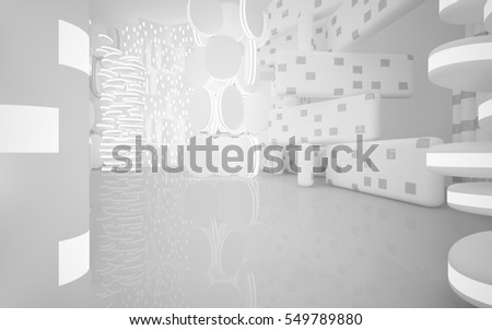 White Abstract architectural background with neon lighting. Night view from the backlight. 3D illustration and rendering