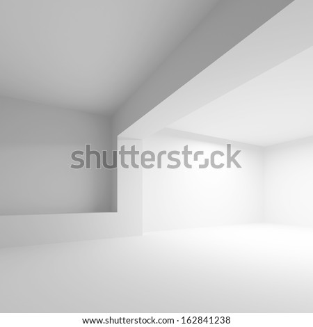 White abstract architecture background. Empty 3d interior - stock photo