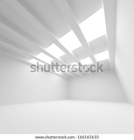 White abstract architecture background. Empty room interior with illumination - stock photo