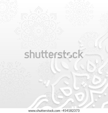 White abstract background with paper cut texture, 3d with shadows