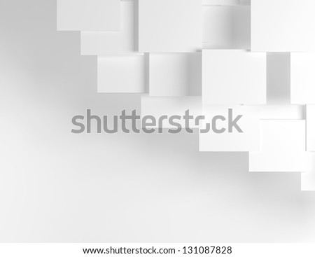 White abstract background with white boxes. - stock photo