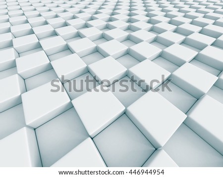 White Abstract Chess Pattern Cubes Background. 3d Render Illustration