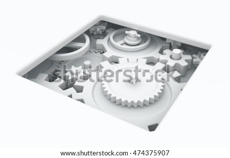 White abstract gears mechanism pit, 3d illustration, horizontal