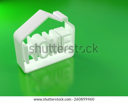 white abstract house on green background