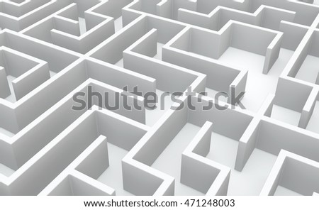 White abstract labyrinth walls background, 3d illustration, horizontal
