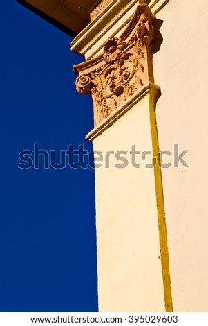 white   abstract old column in the  country  of  morocco   and marble brick