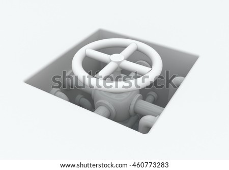 White abstract pipes valve pit, 3d illustration, horizontal