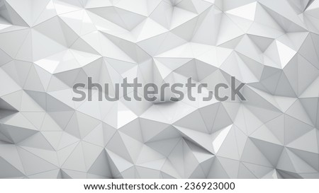 White abstract rumpled triangular surface, you can overlay your own image - stock photo