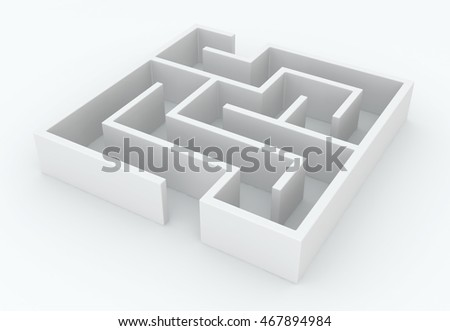 White abstract small labyrinth object, 3d illustration, horizontal