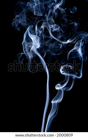 White abstract smoke on a black background - stock photo