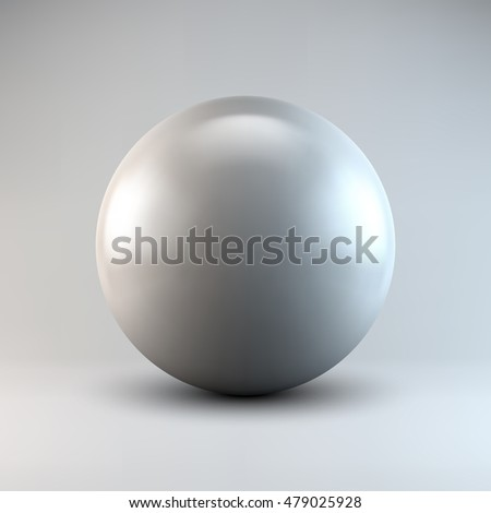 White abstract sphere, ball, pearl with realistic shadow and light background for logo, design concepts, web, presentations and prints. 3D render design.