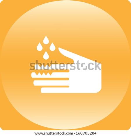 white acid warning symbol on yellow warning sign - stock photo