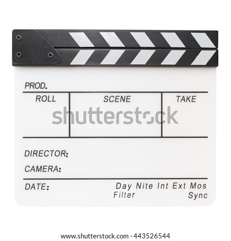 White acrylic clapper board isolated on white background