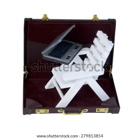 White Adirondack Beach Chair and Laptop in a Briefcase - path included - stock photo