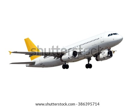 White aircraft. This plane with Gear and yellow Tail. - stock photo