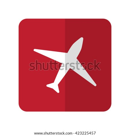 White Airplane flat icon on red rounded square on white