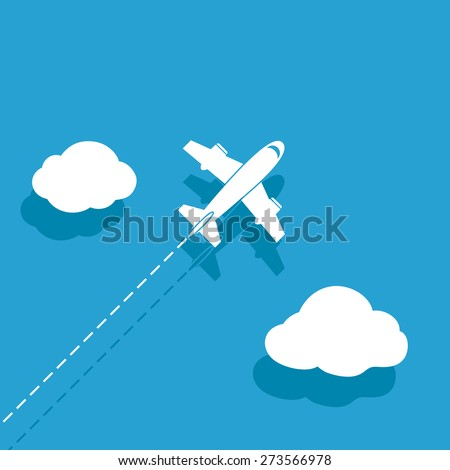 White airplane on a blue background - stock photo