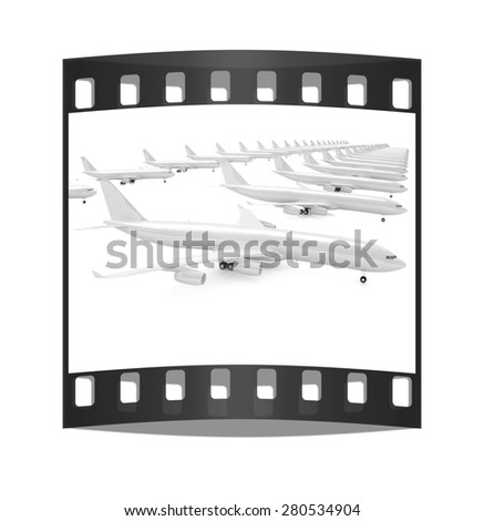 White airplanes on a white background. The film strip - stock photo