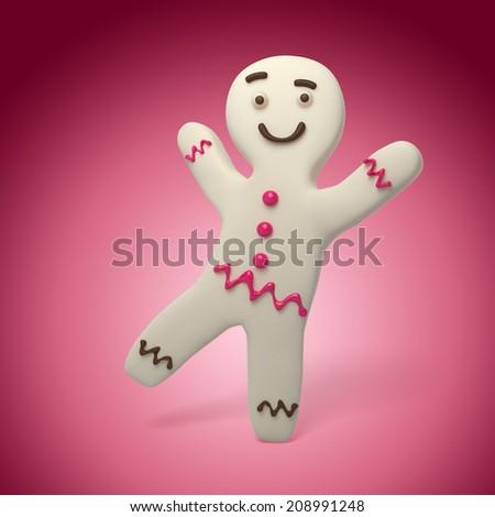 white albino gingerbread man dancing, sugar cookie, 3d cartoon character - stock photo